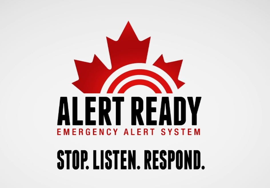 The inaugural test of the Alert Ready system is at 1:55pm this afternoon. Logo supplied